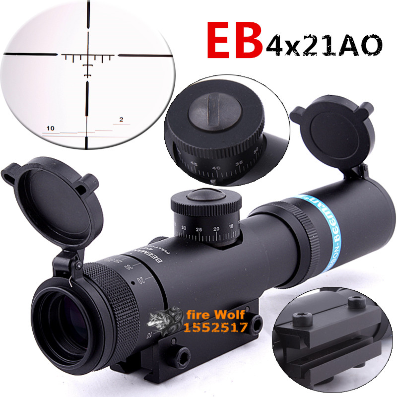 Hunting Rifle Scope 4x21 Optical Sight Telescopic Scope Fogproof Reticle Scope 11mm Scope Mount For Hunting Rifle Outdoor Sports