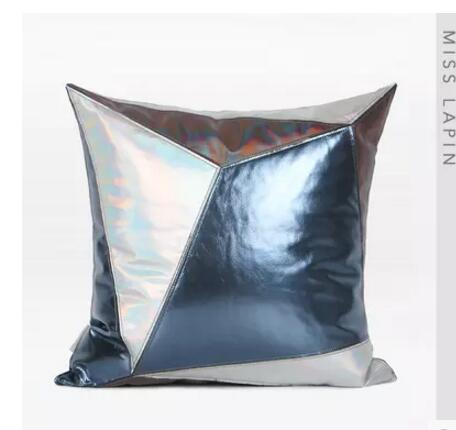 Simple and modern / by the package cushion cover / blue silver three color PU leather splicing square pillowcase
