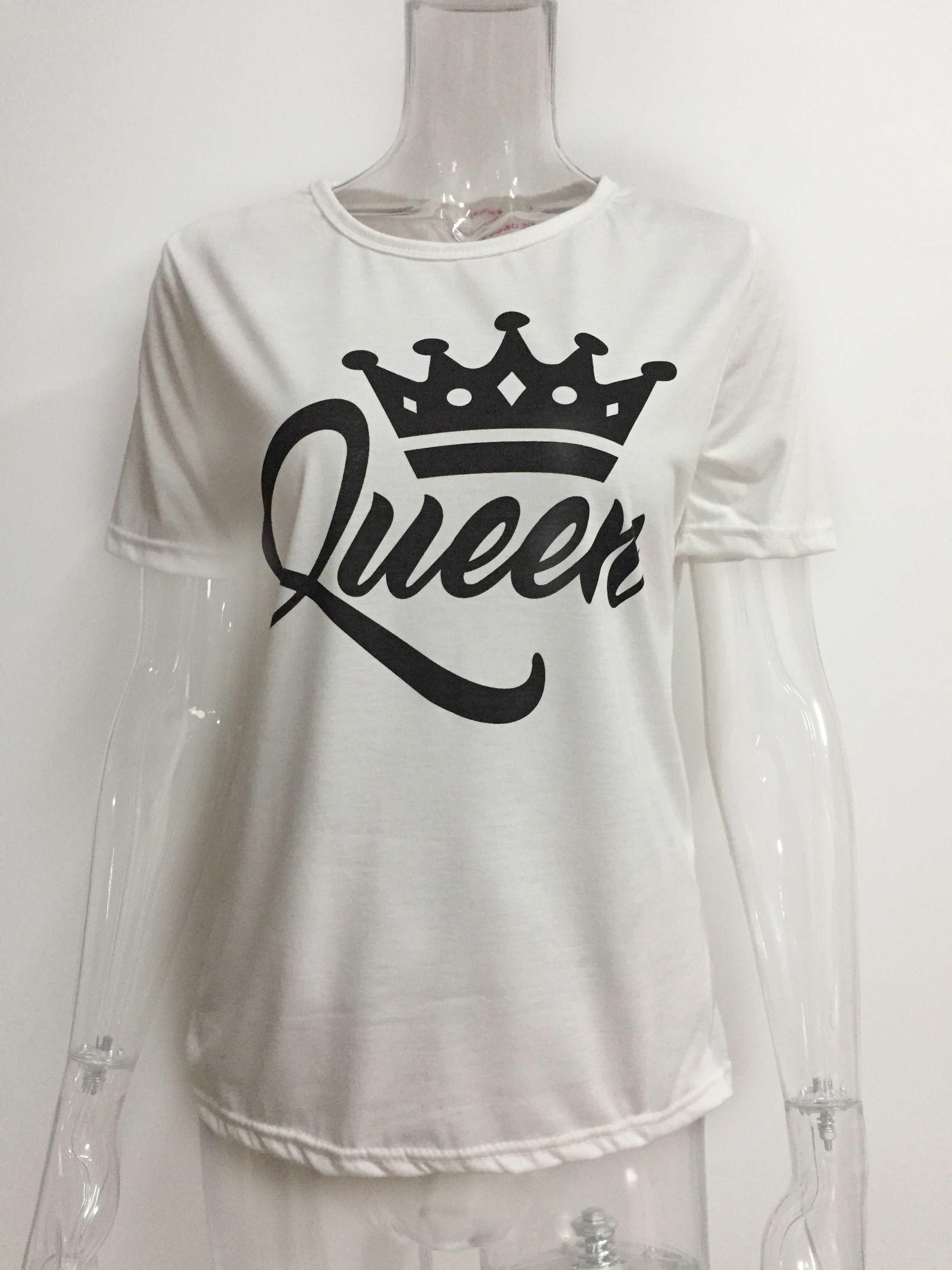 8a72e98974e ... New King Queen Letter Print Short Sleeve T-Shirt Valentine Women White  Black Family Top ...