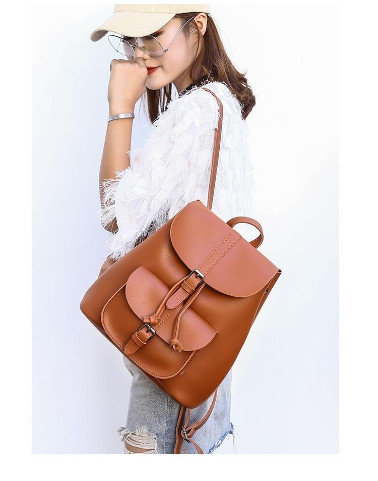 HTB1diAybiLrK1Rjy1zdq6ynnpXaj Pocket PU Leather Women Backpack Female Retro Designer Schoolbag for Teenagers Girl's Casual Large Travel Bag Laptop Backpack