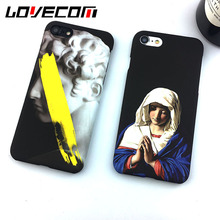 David Bless Virgin Mary Printing Phone Case For Iphone 6 For Iphone 6S Plus 7 7 Plus Hard Frosted Phone Back Cover Capa Coque