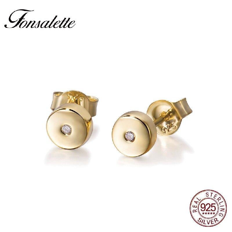 Fonsalette Minimalism Tiny Dot Peas Bean Earrings 925 Sterling Silver Disc Stud Earrings Woman Jewelry Everyday Wear Zk30