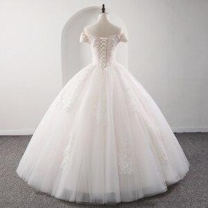 Image 2 - Fansmile 2020 رداء دي ماريج الأميرة الأبيض الكرة فساتين الزفاف Vestido De Noiva حجم كبير مخصص فساتين الزفاف FSM 564F