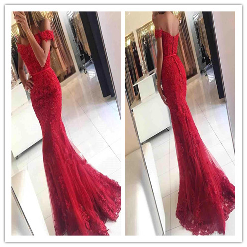 5324b65f83a Glamorous Mermaid Off the shoulder Red Appliques Evening Dress Sleeveless  Sweetheart Lace Party Prom Gown Formal Dress