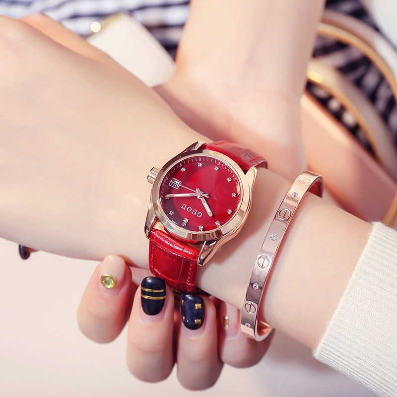 Reloj mujer GUOU Fashion Golden Lady Watch Women Leather Wrist Watches Diamond Gold Clock Saat Relogio Feminino bayan kol saati