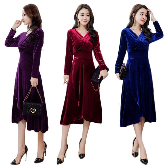 f2625e8e8f7e Elegant women evening party velvet wrap dress Robe midi black purple  burgundy Wome v neck long sleeve tunic swing dress