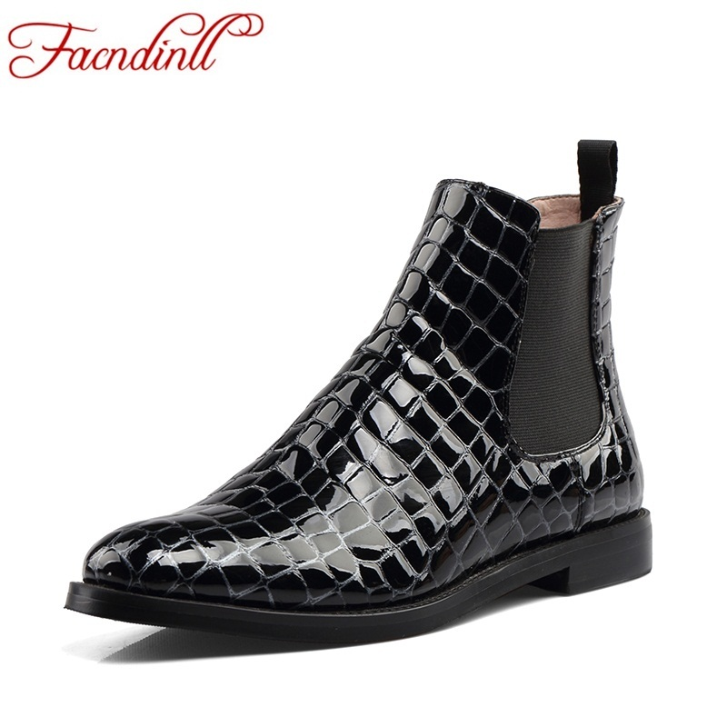 Фотография FACNDINLL spring shoes woman embossed leather ankle boots square heel autumn winter boots black casual shoes ladies riding boots