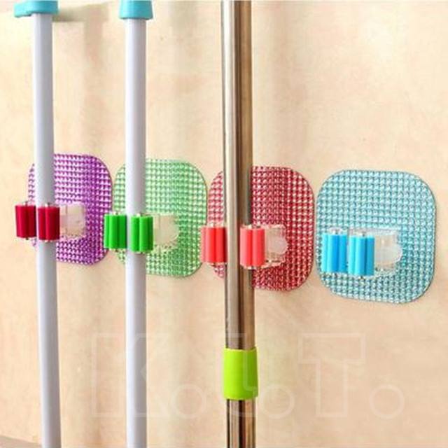 1PCS New Colorful Crystal Suction Cup Hook Sweep Broom Mop Pole Handle Holder  Clip Home Clean