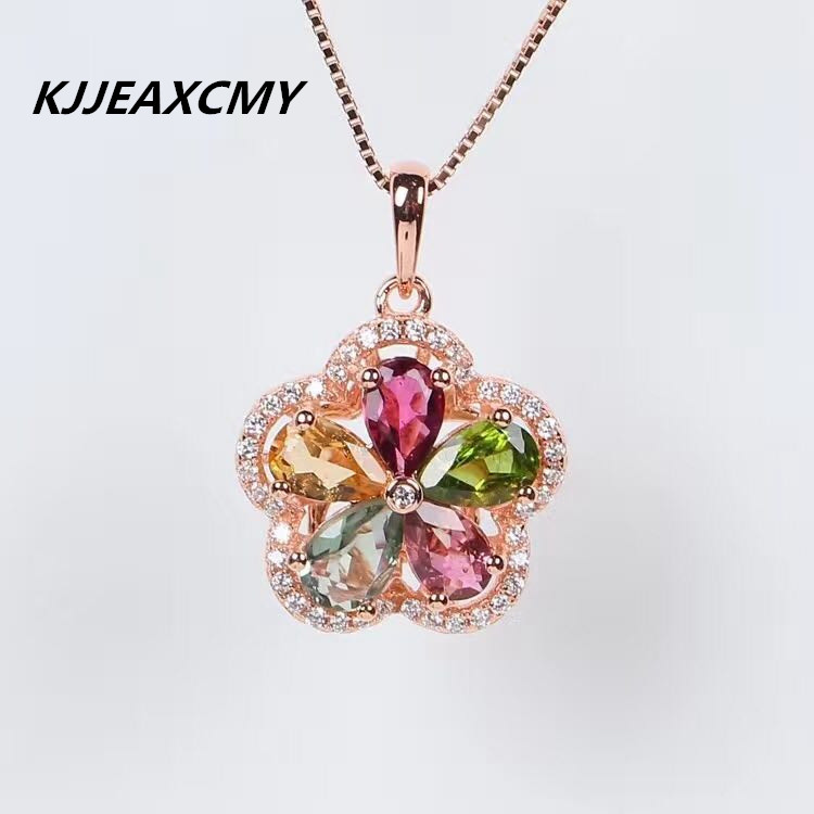 KJJEAXCMY Boutique jewelry Natural tourmaline female pendants, inlaid jewelry wholesale, S925 silver, pure silver s925 pure silver personality female models new beeswax