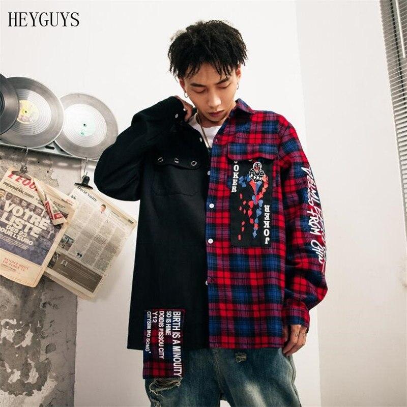 NAGRI 2020  New Hip Hop Clown Plaid Outwear Coats Casual Harajuku Fashion Men's Jacket Streetwear Coats  M L XL XXL