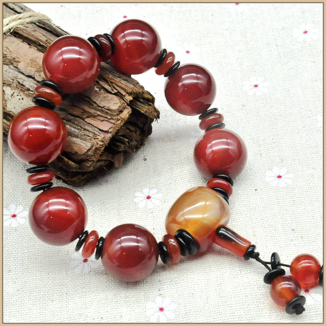 Yumten 20MM Natural Red Agate Bracelet Strand Bracelets Men Women Crystal Agate Stone Anniversary Bracelets for couples Romantic