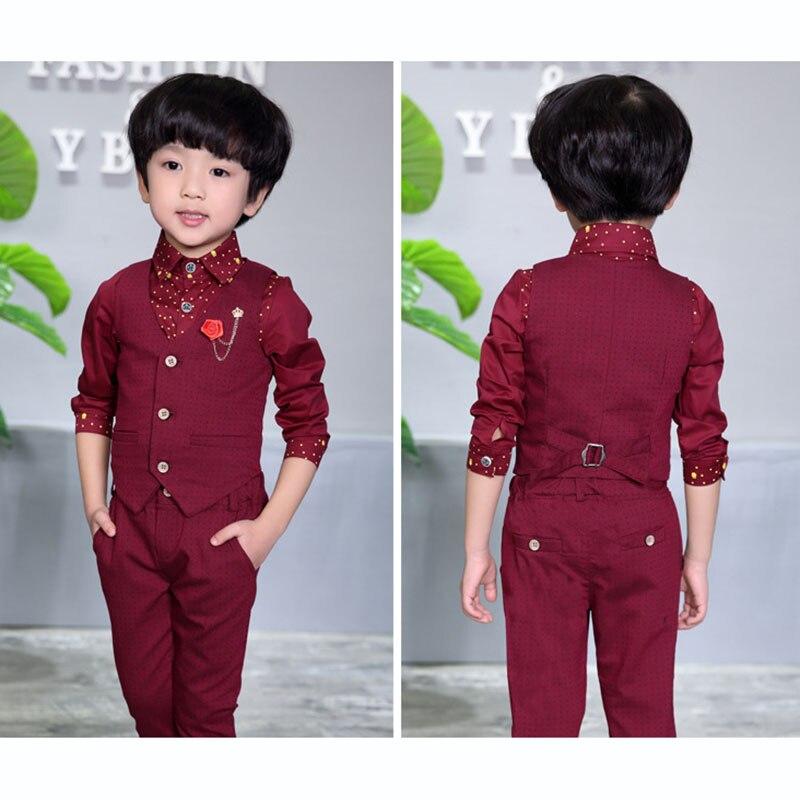89c4df4c886e7 Boys Formal Clothing Sets Spring Autumn Boys Wedding Clothes Vest & Pants 2  Pcs Kids Gentleman Clothes Suit 2 3 4 5 6 7 8 9 Year