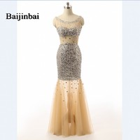 Baijinbai High Quality Custom Size New Style Champagne Sparkles Luxury Crystals Sheer Top Neck Long Beaded Prom Dress Women Gown