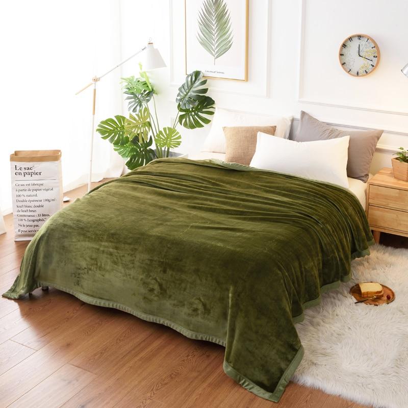 Doux chaud moelleux épaissir flanelle couverture solide armée vert bleu fausse fourrure polaire jeter 400gsm flous grosses couvertures pour les lits-in Couvertures from Maison & Animalerie    1