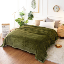 Soft Warm Fluffy Thicken Flannel Blanket Solid Army Green Blue Faux Fur Fleece Throw 400gsm Fuzzy Fat Blankets For The Beds