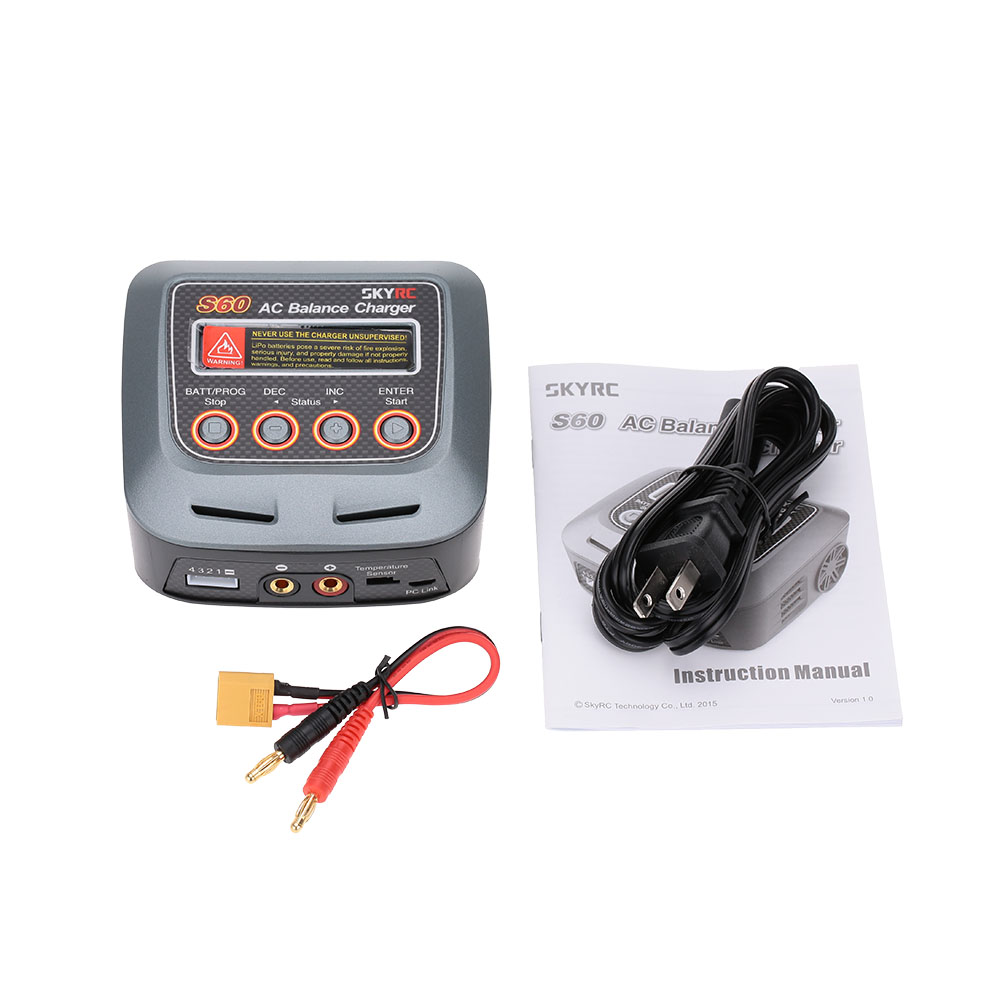 SKYRC S60 Intelligent AC Balance Charger/Discharger with Multi Charging Modes for LiPo LiHV LiFe Lilon NiCd NiMh PB Battery