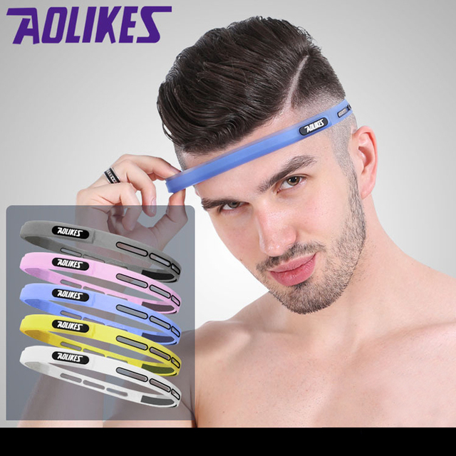 Outdoor Sports Fitness Yoga Running Headband Adjustable Silicone Headwear Hairband Forehead Belt Sweat Absorb Proof Men Women