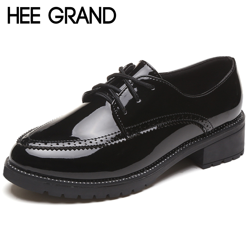 HEE GRAND Patent Leather Women Oxfords Shoes For Spring Round Toe Platform Low Heels Pumps Brogue Shoes Woman XWD6779 hee grand sweet patent leather women oxfords shoes for spring pointed toe platform low heels pumps brogue shoes woman xwd6447