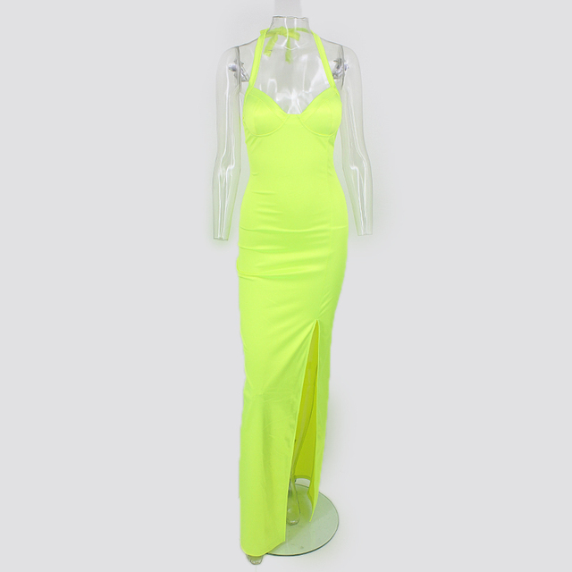Tobinoone Kim Kardashian Summer Dress Women Sexy Backless Nightclub Party Maxi Dress Split Bodycon super bright neon outfits 4
