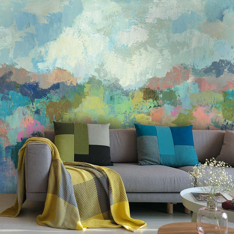 Tuya Art Mural Wallpapers Blue Color Watercolor Moutains Wall-paper For The Living Room Bedroom Kitchen Room Large Size