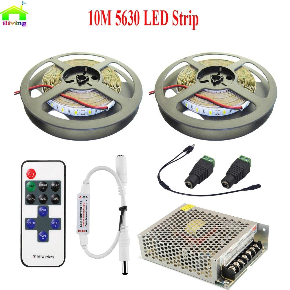 Cablé de 10cm à 5M Ruban bande 60 led//M 5630 non étanche IP20 BLANC CHAUD