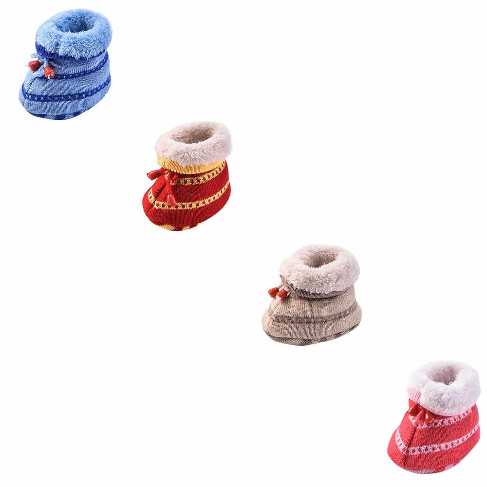 Trẻ sơ sinh Dệt Kim Mùa Đông Bé Bé Nhiều Màu Phim Hoạt Hình Toddler Dệt Kim Mềm dưới Dày Ấm Giày Bé Thời Trang