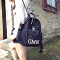 Oxford cloth with Leather Shoulder Bag  Korean fashion Mommy backpack couples college wind bag letters