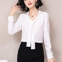 New Spring 2019 Autumn chiffon Shirt full long sleeve Women tops white office blouses shirt ribbon women  52E3