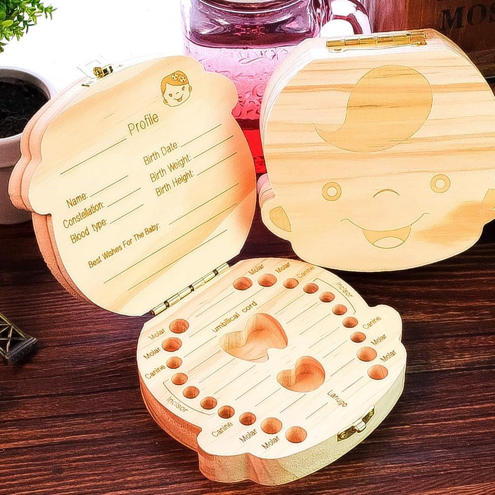 Acheter Bébé dents boîte de rangement en bois naturel artisanat boîte de rangement pour enfants dent souvenir Home decor figurine de box for fiable fournisseurs