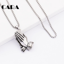 316L Stainless Steel Praying Hands Big Pendants Jewelry Hand Necklaces Men Women Hip Hop necklace Prayer Jesus Chains CAGF0312
