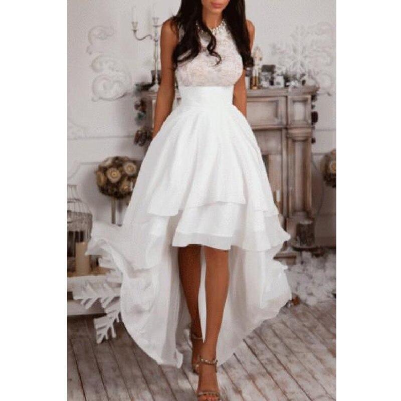 Summer Beach High Low Wedding Dress Jewel Neck Sleeveless Lace Top Tieres Chiffon Skirt A Line - beach wedding renewal dresses