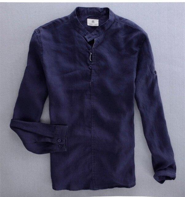 Uomo maniche lunghe camicia di lino bianco blu scuro cielo blu khaki collo  alla coreana camicia 9ccc5ac9bc0