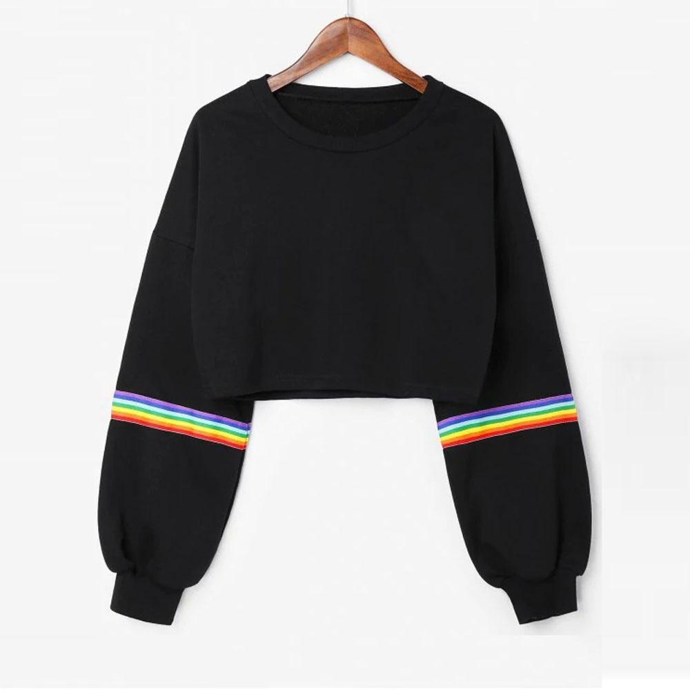 Rainbow Womens Long Sleeve Striped Crop Short Sweatshirt Jumper Black Pullover Top Clothes Hoodies Women Sudadera Mujer