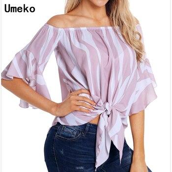 29bfed81d 2019 nueva moda para mujer Blusa de gasa el hombro manga Flare señoras Tops  y blusas Casual Mujer Camisas de rayas