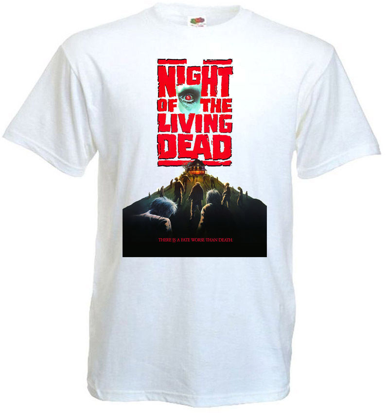 T Shirt Shop Night Of The Living Dead V4 T-Shirt Black Poster All Sizes S To 3XL Short Graphic Crew Neck T Shirts For Men