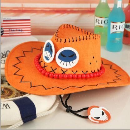 1pcs/set Hot Anime Cartoon Hat One Piece Ace Hat Cosplay Sun Hat Cowboy Red Yellow Hat