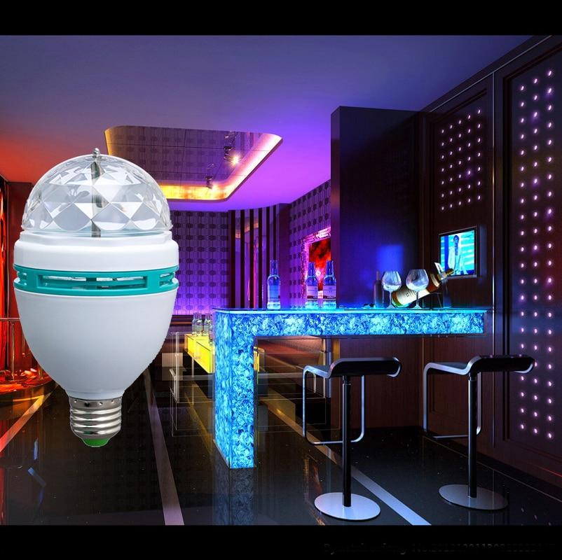 220V 3W RGB disko Lampada LED E27 rotirajuća disko kugla za DJ odmor - Rasvjeta za odmor - Foto 4