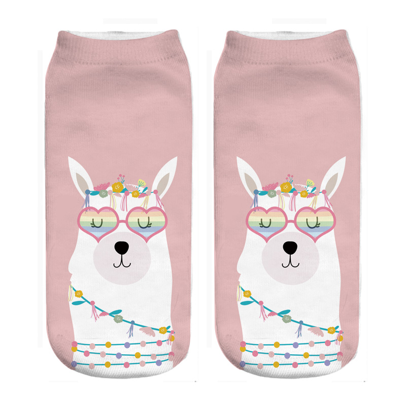 a Socks casual male Llama,Pink Abstract Animal,socks women low cut black