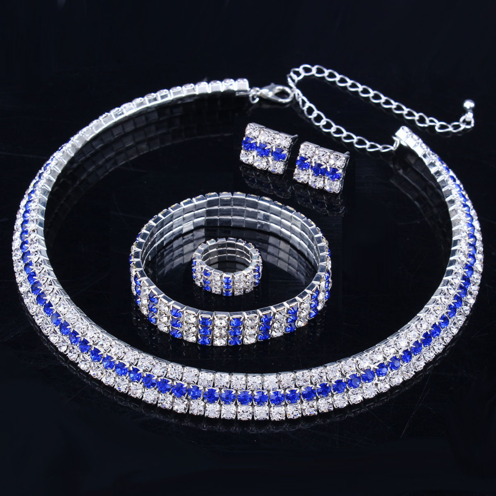 New 2017 Classic Circle Czech Rhinestone Crystal Wedding Jewelry Sets  African Jewelry Set Necklace Earrings Ring Bracelet d84e8c280278