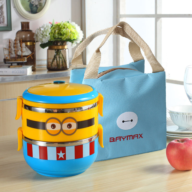 4c6d2228987c US $15.99 45% OFF minions Tiffin Cartoon Lunch Box Thermal Leakproof  Plastic Stainless Steel l Food Container Bento Box Kids Boy Girl Student  -in ...
