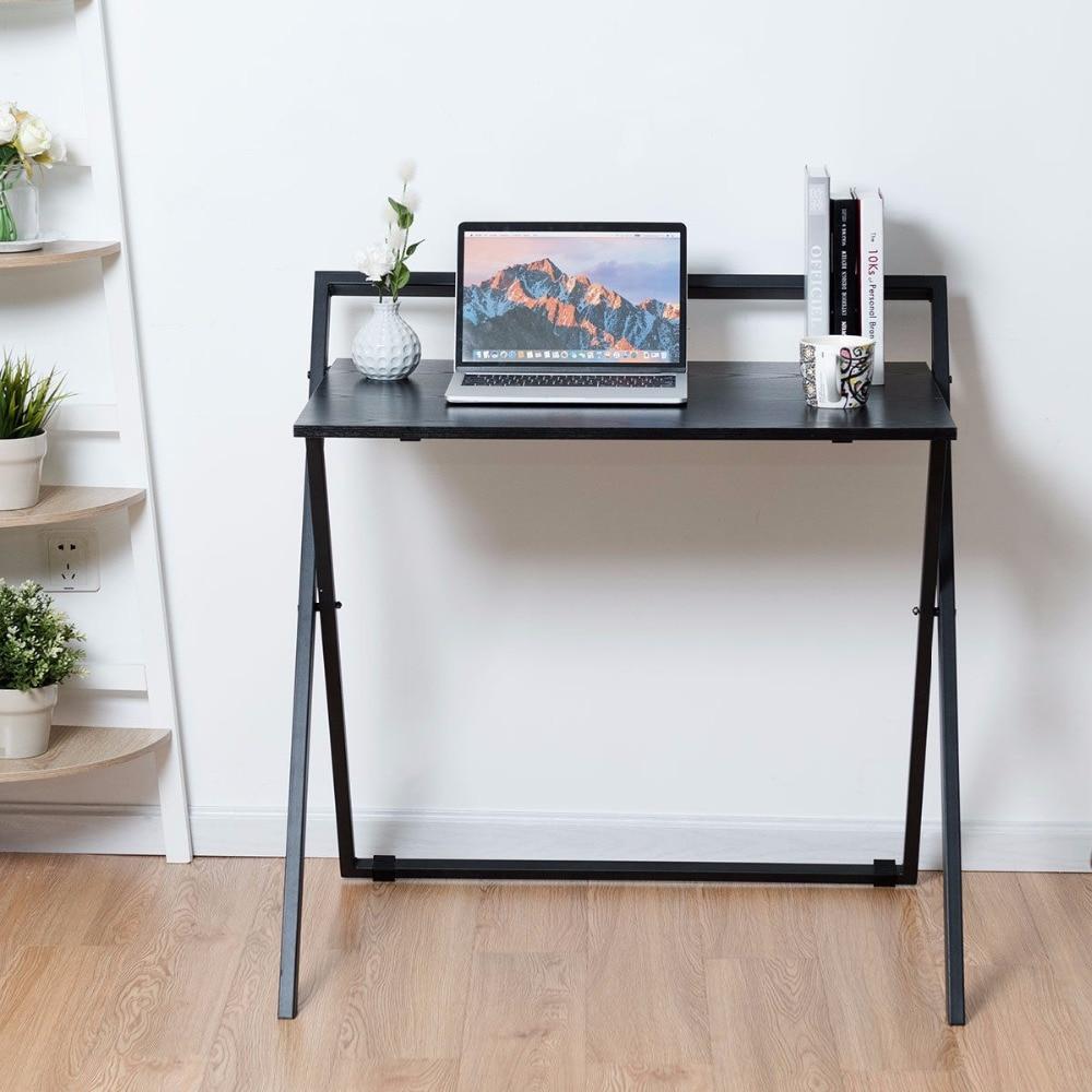Giantex Folding Computer Desk PC Laptop Table Study Workstation Wood Top Metal Frame New Commercial Furniture HW60471|Laptop Desks| |  - title=