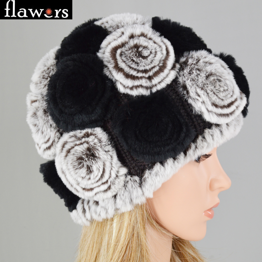 6c4e90ffbda Hot Sale Winter Women Knitted100% Natural Rex Rabbit Fur Flowers Hats DIY  Female Warm Real