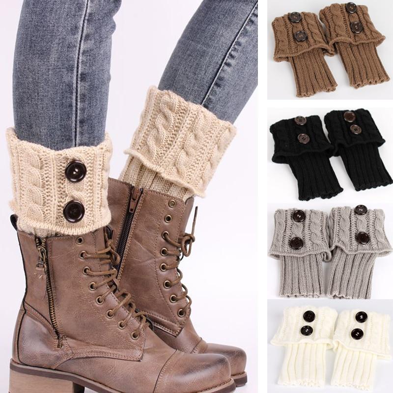 Women Winter Leg Warmer Button Crochet Knit Boot Socks Toppers Cuffs Beauty D...
