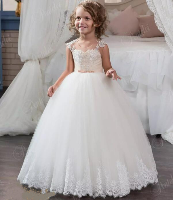 Ivory White sheer lace sweetheart Flower Girl Dresses junior bridesmaid ball gown dress for wedding pageant gown fashionable sweetheart neckline sleeveless lace spliced dress for women