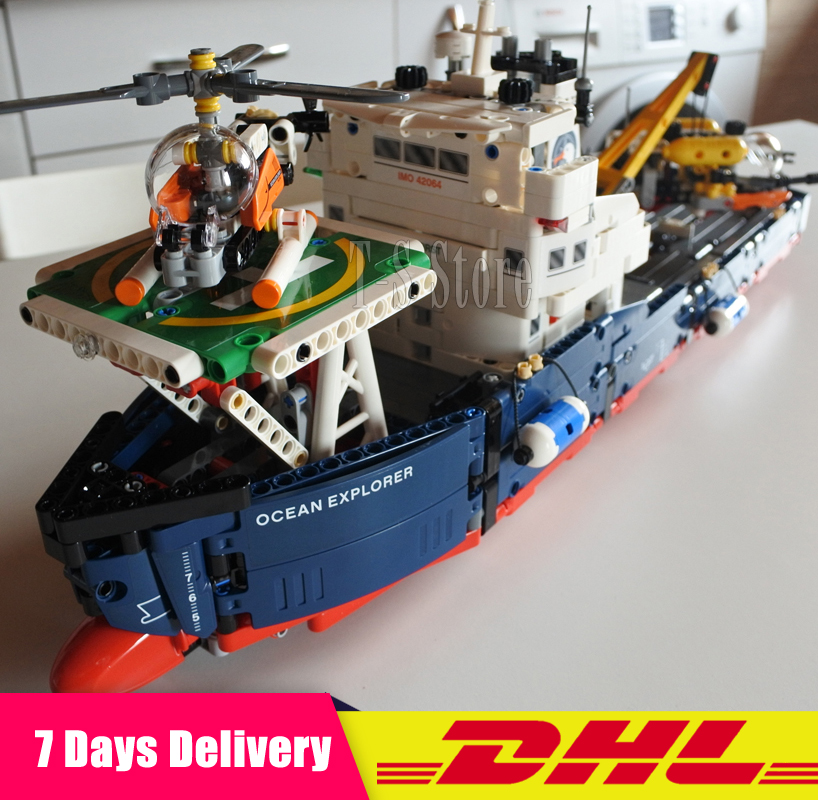 DHL IN Stock Lepin 20034 1347pcs Genuine New Technic Series The Searching Ship Set Educational Building Blocks Bricks Toys 42064 8 in 1 military ship building blocks toys for boys