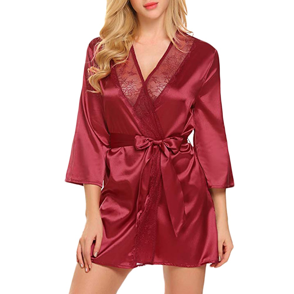Women Sexy Lace Patchwork Long Sleeve Nightgown Kimono Satin Bath Robe Lingerie Women's Leisure Nightgown Lingerie With Belt