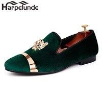 Harpelunde Men Loafer Shoes Green Velvet Slippers Animal Buckle Dress Shoes Gold Metal Circle Flats Size