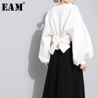 EAM 2018 New Spring Round Neck Long Sleeve Solid Color Black Back Bandage Bow Loose