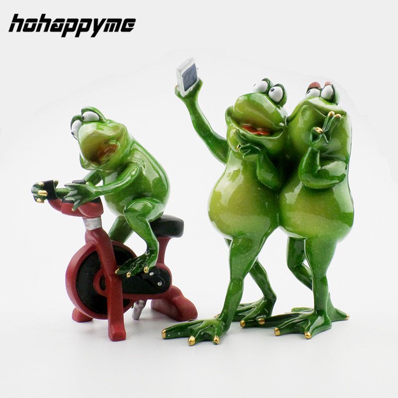 Kawaii Funny Frog Resina Figuras Miniaturas Craft Decoración Del - Decoración del hogar