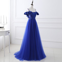Blue Party Dresses A line Sleeveless Spaghetti Strap Off the Shoulder Formal Gowns Lace Up Back Floor Length Beaded 0308C